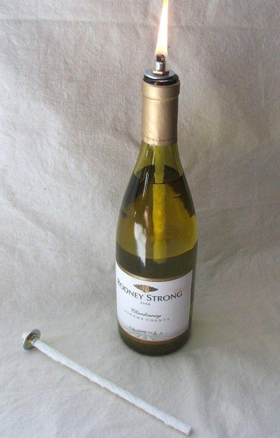 Wine Bottle Oil Lamp Diy Kit Set Of 2 By Peanutbearys On Etsy