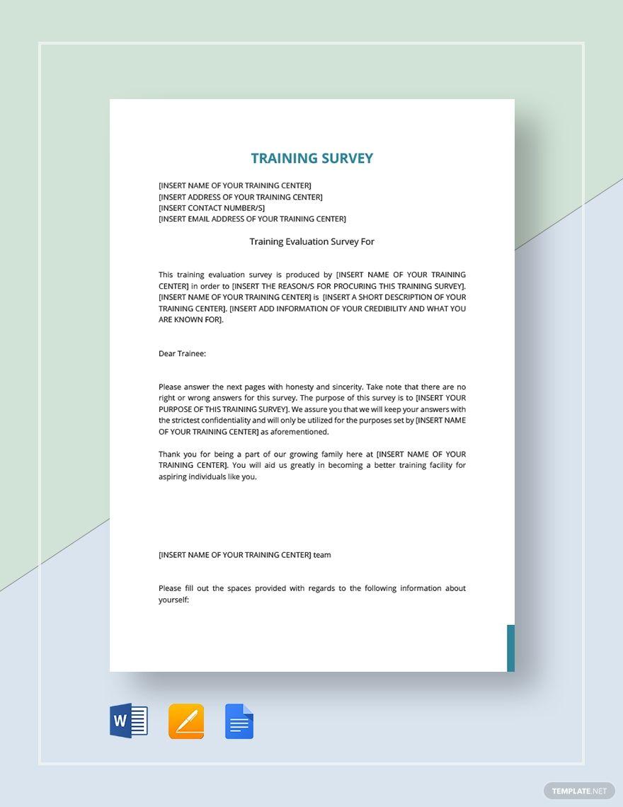 Training Survey Template Survey Template Survey Template Word Printable Invitation Templates