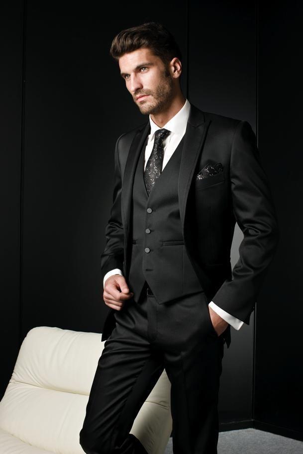 Custom Made 3 Piece Men Suits Fashion Dark Grey Business Suit Wedding Groom Tuxedos Best Man Groomsman Wholesale