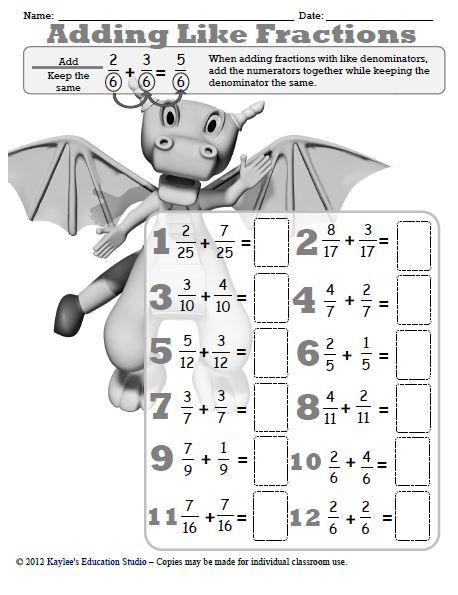 adding like fractions worksheet  teachingeducation  fractions  adding like fractions worksheet