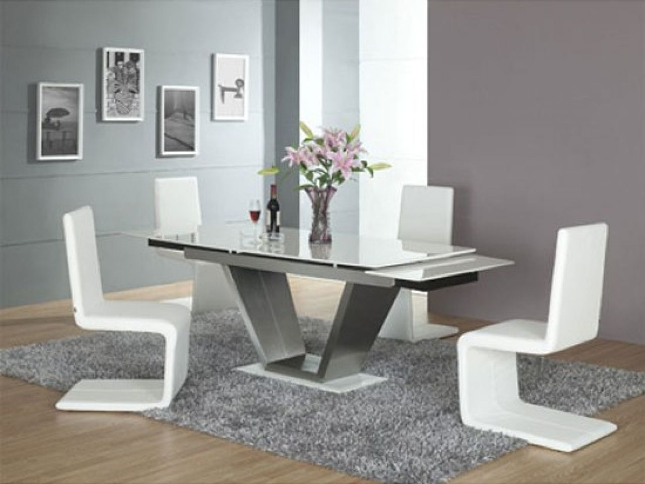 Tokyo White High Gloss Extending Dining Table And 6 Chairs Set Perth Grey