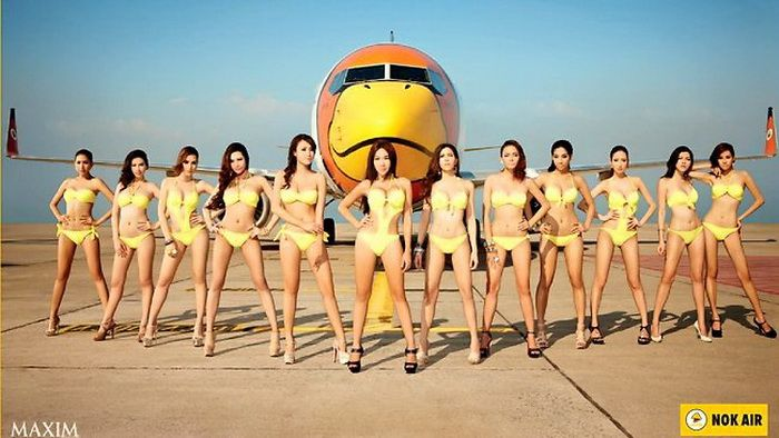 Bikini girls on airplanes