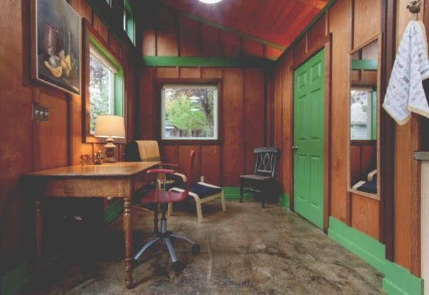 We are #greenwithenvy with this super cozy studio. #green #dscolor #design #Wood #cabin #portland #oregon #pdx #interiordesign #whitespiderpdx