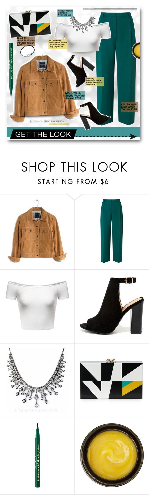"""Get the look"" by fashionablemy ❤ liked on Polyvore featuring Madewell, L.K.Bennett, LULUS, Charlotte Olympia, Too Faced Cosmetics, de Mamiel, Alex and Ani, GetTheLook and colourful"