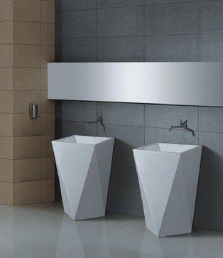 Aqua Diamante Pedestal Sink  Modern  Bathroom Vanities And Sink Simple Designer Bathroom Sink Decorating Design