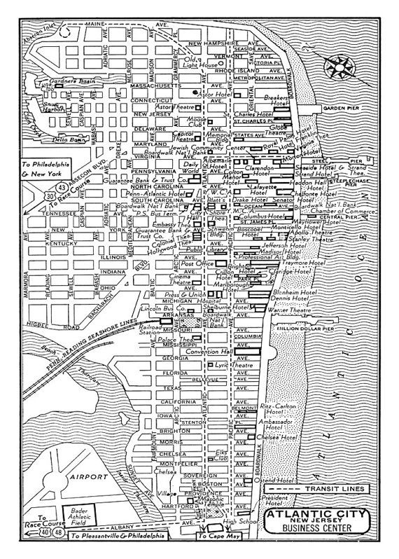 Atlantic City Vintage Map Of Downtown Atlantic City Print Poster Atlantic City Map Atlantic City Vintage Map