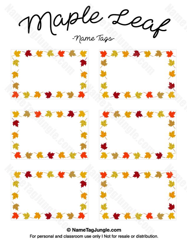 Free Printable Maple Leaf Name Tags The Template Can Also Be Used - Free printable name tags template