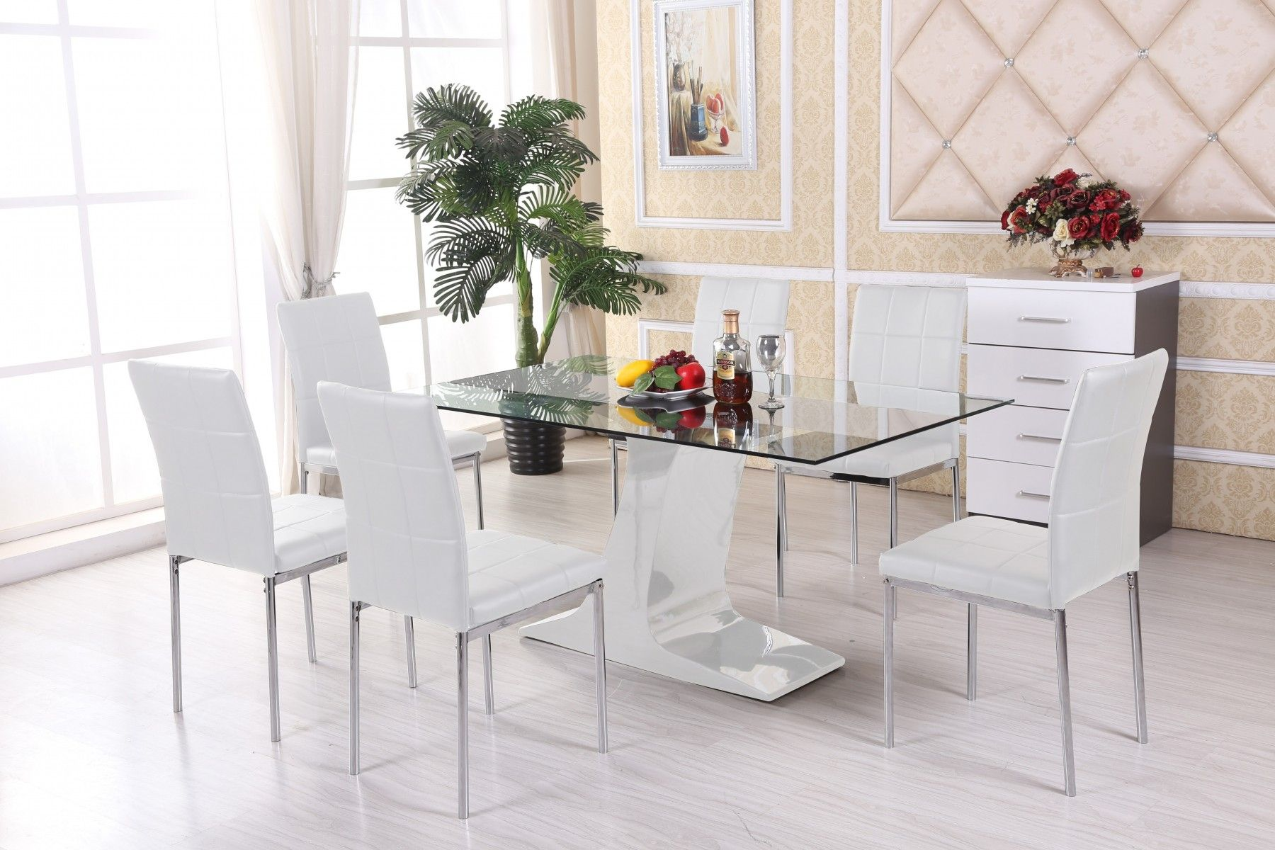 white glass dining tables and chairs