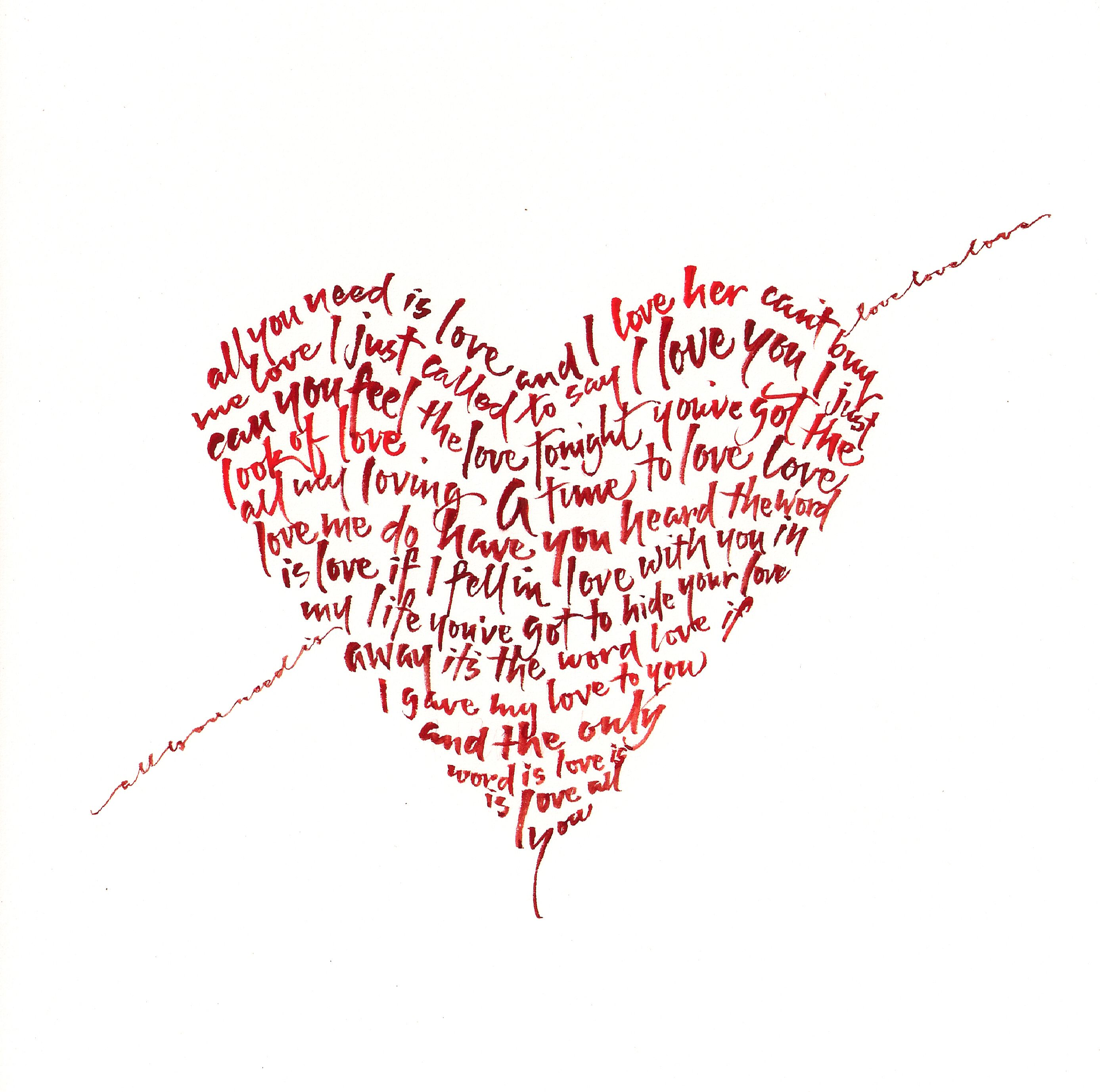 All you need is love… that says it all! Happy Valentines Day!  #happyvalentinesday #february14 #loveisintheair #calligraphy #handlettering #allyouneedislove #oneofakind