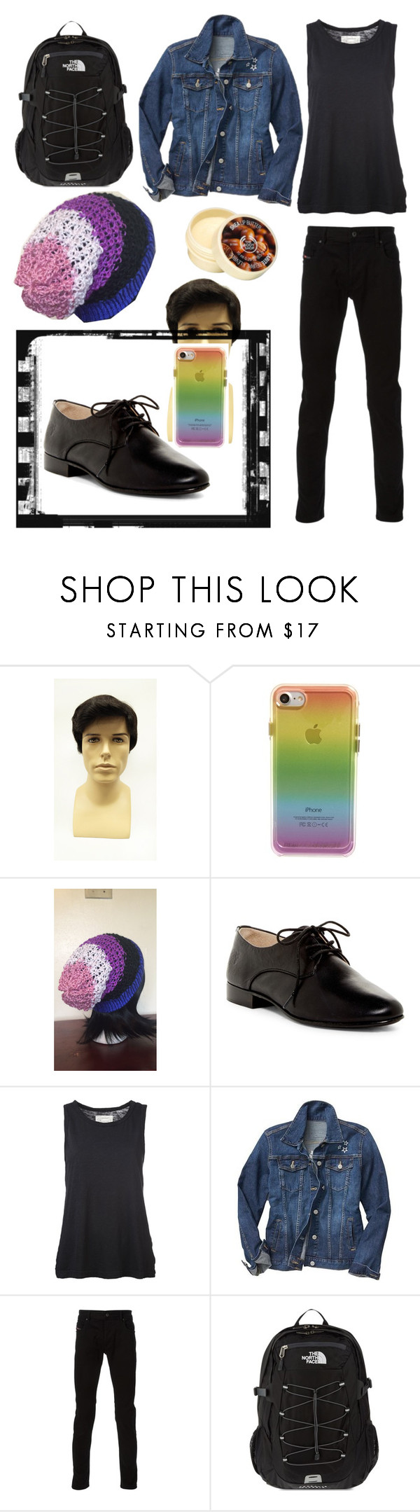 """""""Genderfluid FTW"""" by idabuzzer ❤ liked on Polyvore featuring Rebecca Minkoff, Frye, Current/Elliott, Gap, Diesel, The North Face and The Body Shop"""