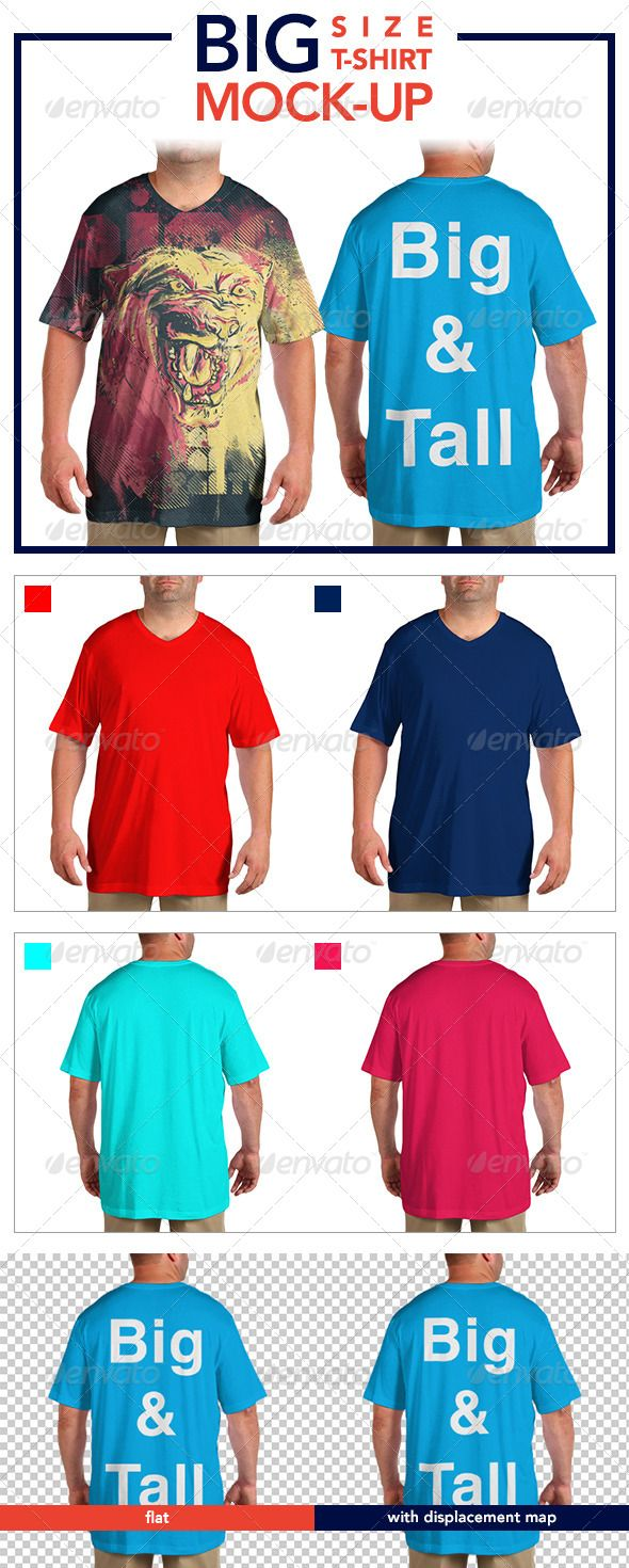 Scalable t shirt mockups more info - Buy Big Size T Shirt Mock Up By Jamiefang On Graphicriver Features Includes 4 Mock Ups Front And Back Views With Both Flat And Displace
