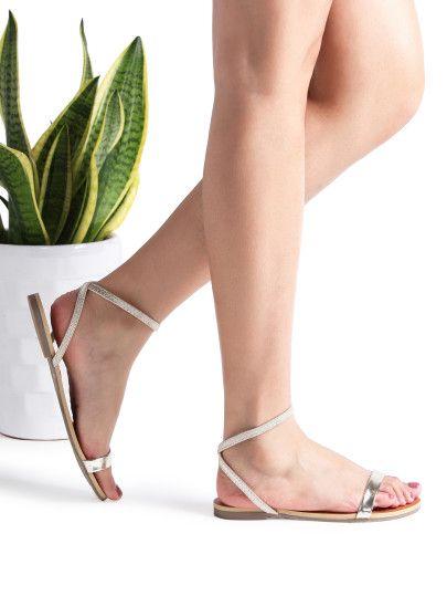Sandalias planas con correa al tobillo droado | Sandalias
