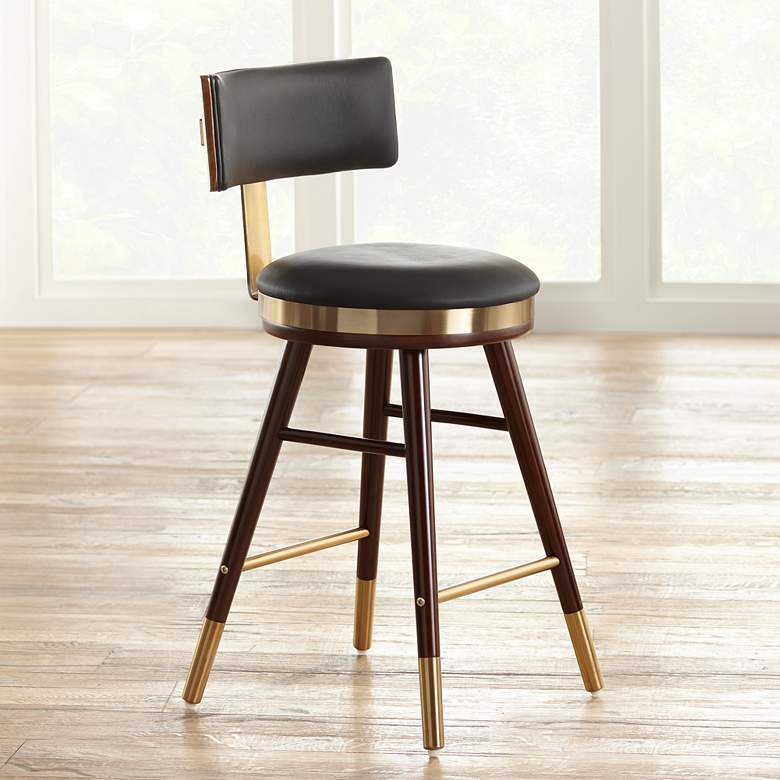 Parker 25 1 2 Black Leather Counter Stool 64g33 Lamps Plus In 2020 With Images Leather Counter Stools Counter Stools Counter Stools Backless