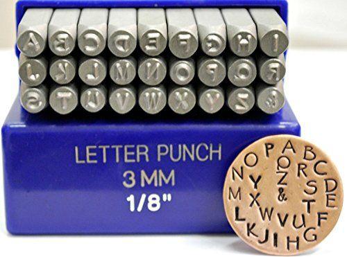 36 pc 1//8 3MM Letter /& Number Steel Stamp Die Punch Jewelers Set Metal in Case