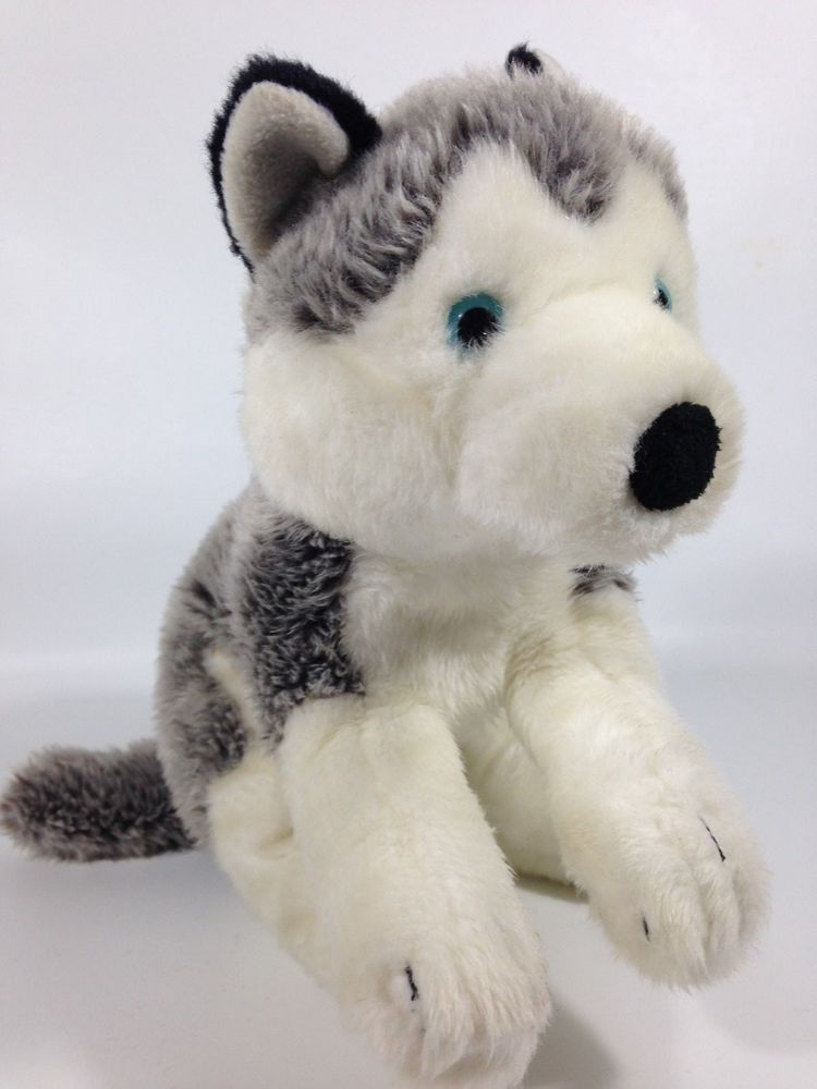 Toys R Us Siberian Husky Malamute Plush Blue Eyes White Soft