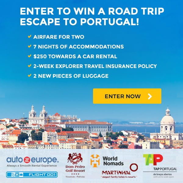 enter to win a road trip retreat to portugal from auto europe giveaways pinterest road. Black Bedroom Furniture Sets. Home Design Ideas