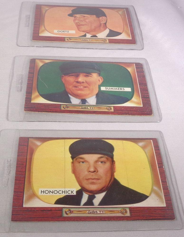 1955 Bowman Umpire Lot Of 3 Trading Cards 1955 Bowman Bowman