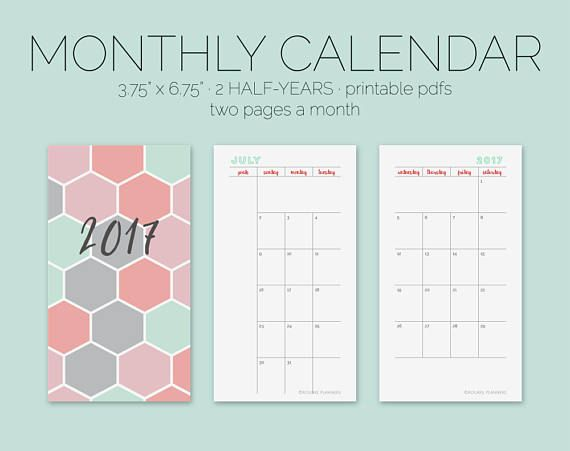 2017 Calendar Monthly Calendar Printable Planner Inserts rourke - daily calendar printable