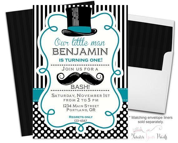 Mustache Bash Little Man 1st Birthday Party Event Printable Invitation BOY