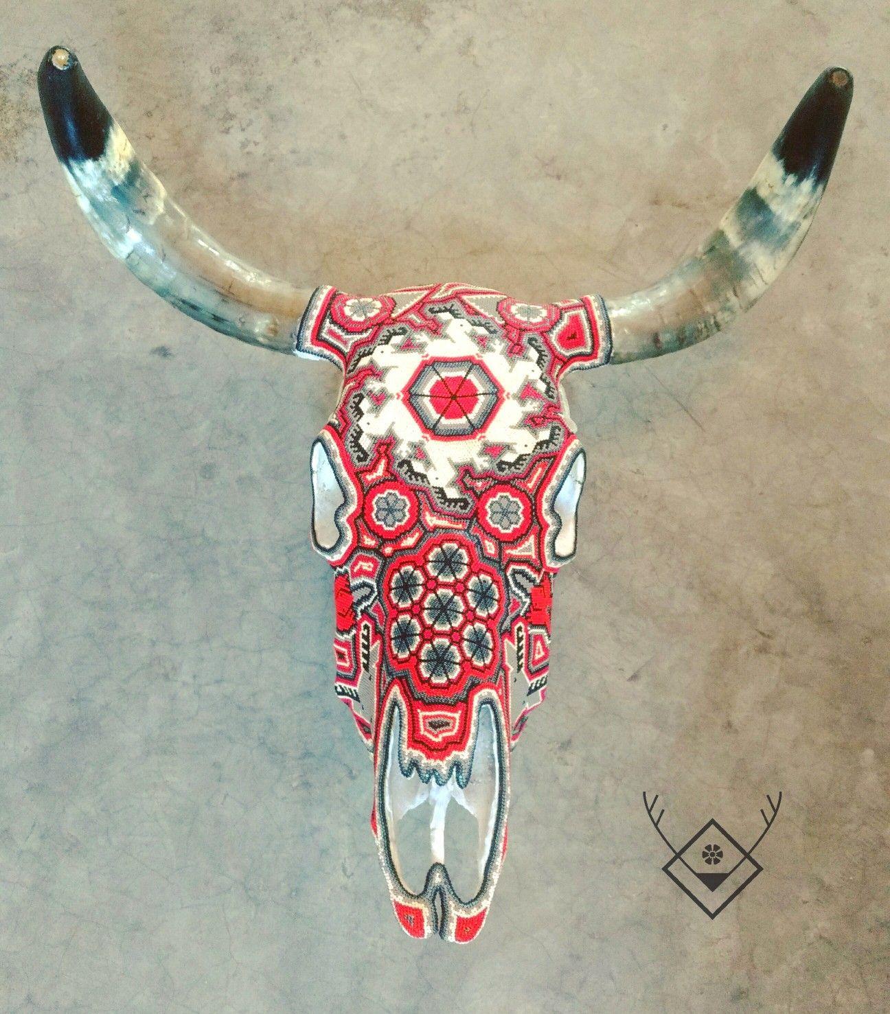 Augustine Cabeza De Vaca Decorada Con Arte Huichol At Ojopecoso