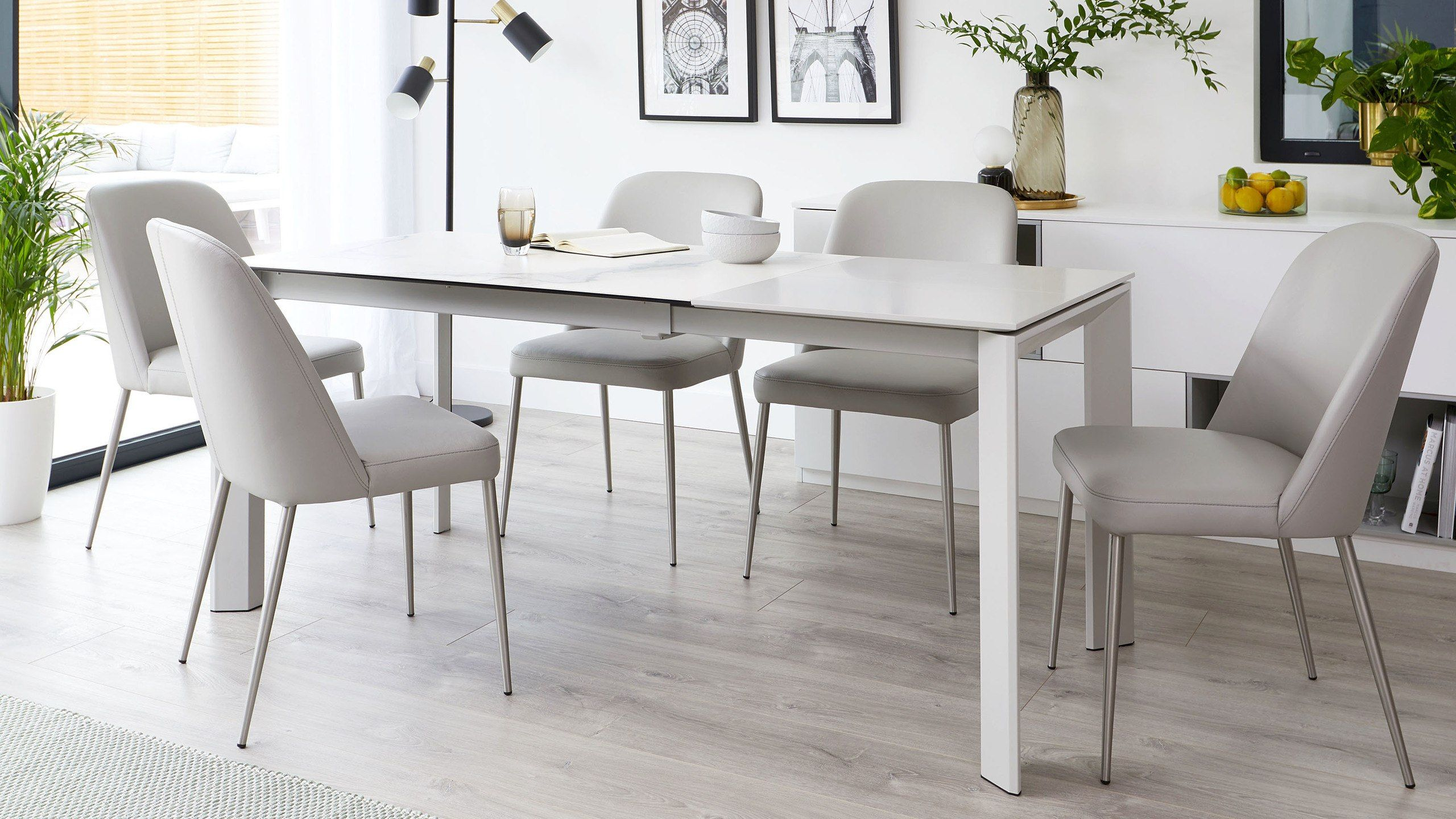 Louis Ceramic Marble And Deco Real Leather Extending Dining Set