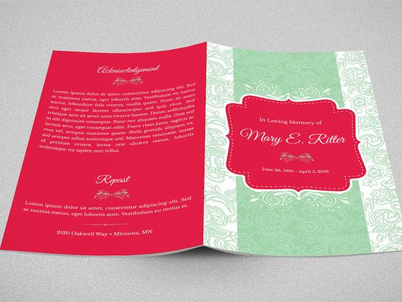 Baby Shower Program Template Vintage Funeral Program Photoshop Template  Template Print .
