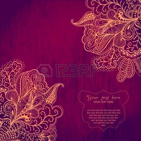 Vintage Invitation Card On Grunge Background With Lace Ornament Vintage Invitations Frame Design Lotus Flower Design