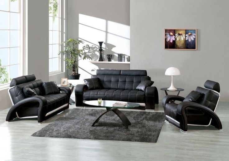 Cozy Black Leather Sofas For Elegant Living Room Comfortable Modern Sofa Set With Silver Backwall And Curved Side Arms Stylish