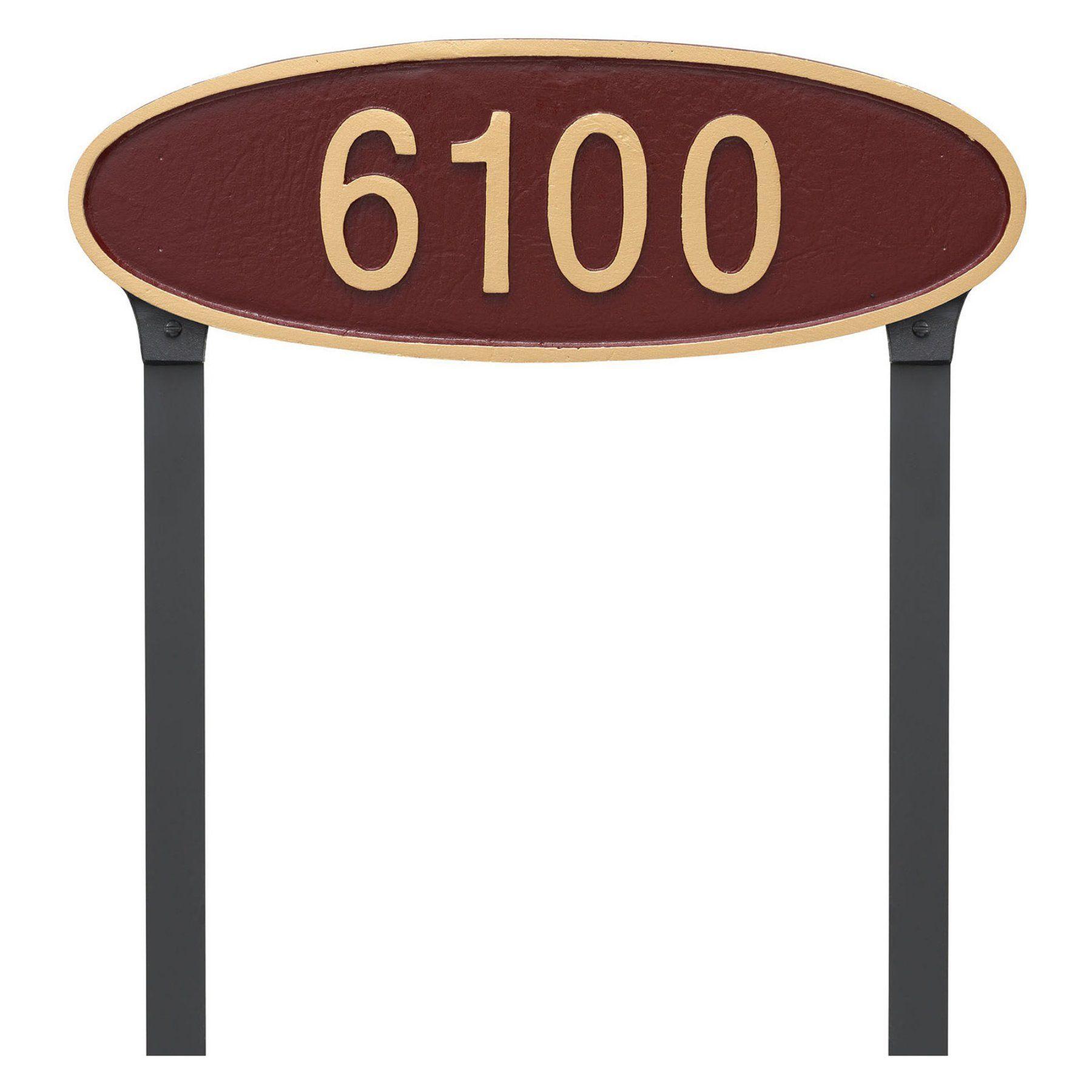 Montague Metal Wilshire Oval Standard Address Sign Lawn Plaque - PCS-0145S1-L-ABG