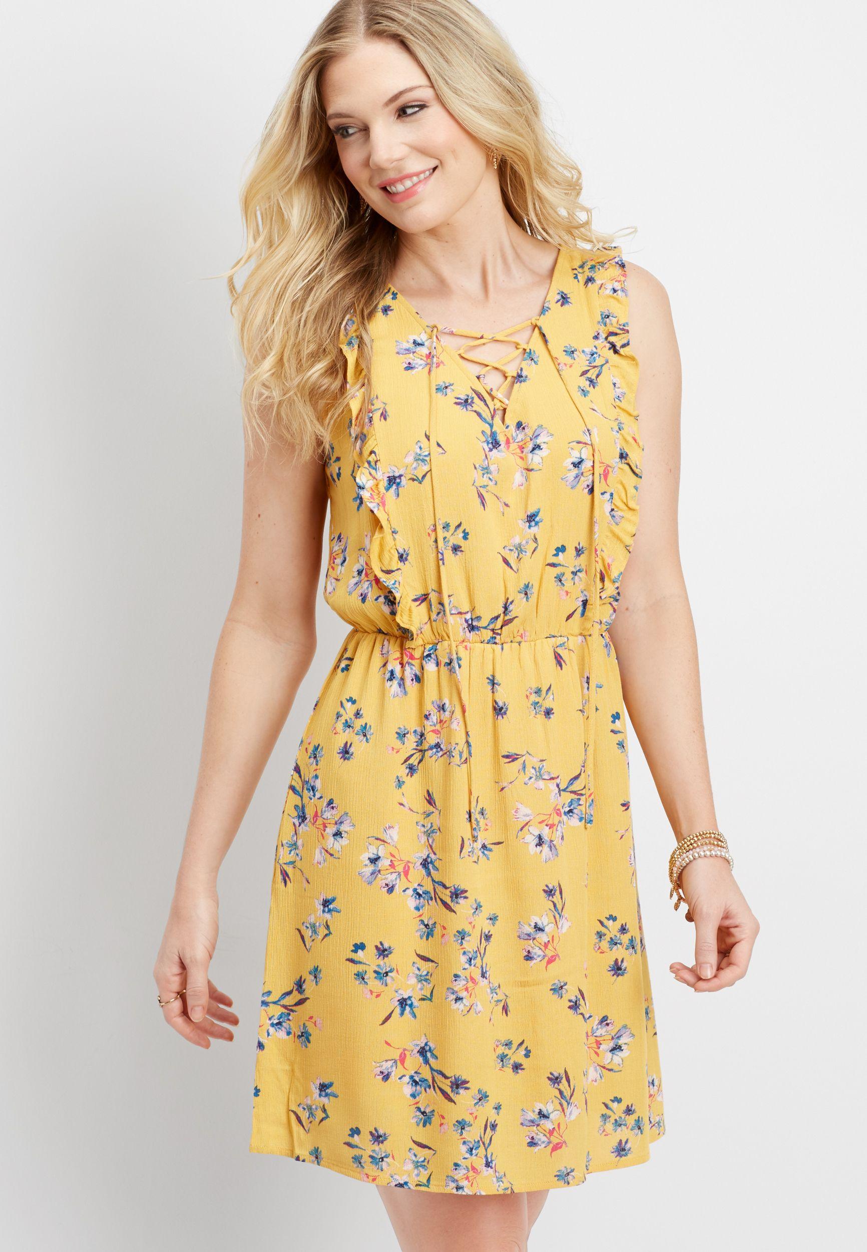 1edbfe6c3 lace up ruffle front floral dress (original price