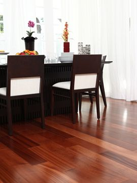 """Sapelli's reddish brown hues and flowing grains make it one of the most popular and sought after woods in the world. Frequently used in designer furniture and high end home finishes Sapelli is both durable and beautiful. Construction :- Solid Thickness :- 5/8"""" Width:- 3 1/2"""" Length:- Up to 60"""" Finish :- A/O Warranty :-50 years Sq. Ft. Per Box :- 21.6 SKU:- SOSP31/2"""