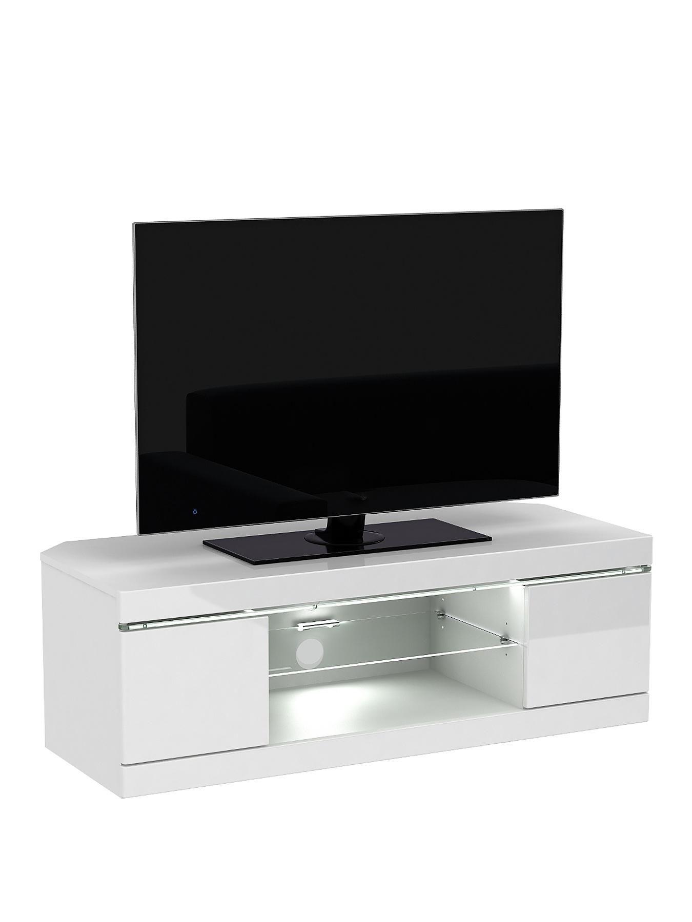 Innova Corner Tv Unit With Led Lights Fits Up To 50 Inch Tv Corner Tv Unit Corner Entertainment Center Corner Tv