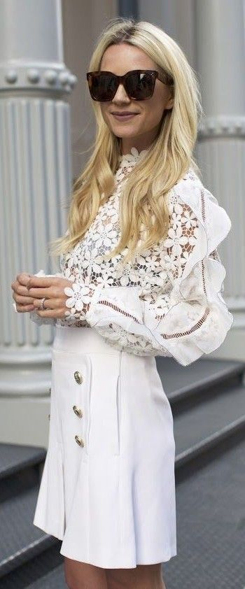 White Lace Top + White Military Skirt                                                                             Source
