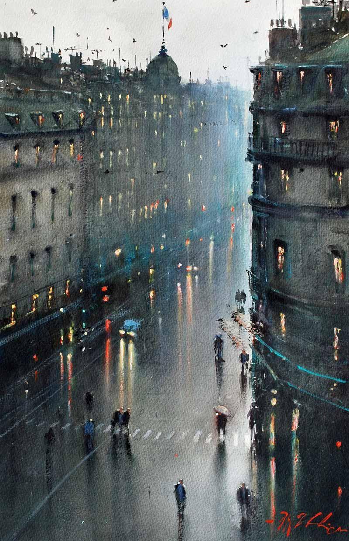 Rainy Evening Paris Joseph Zbukvic Amazing Watercolor I Love
