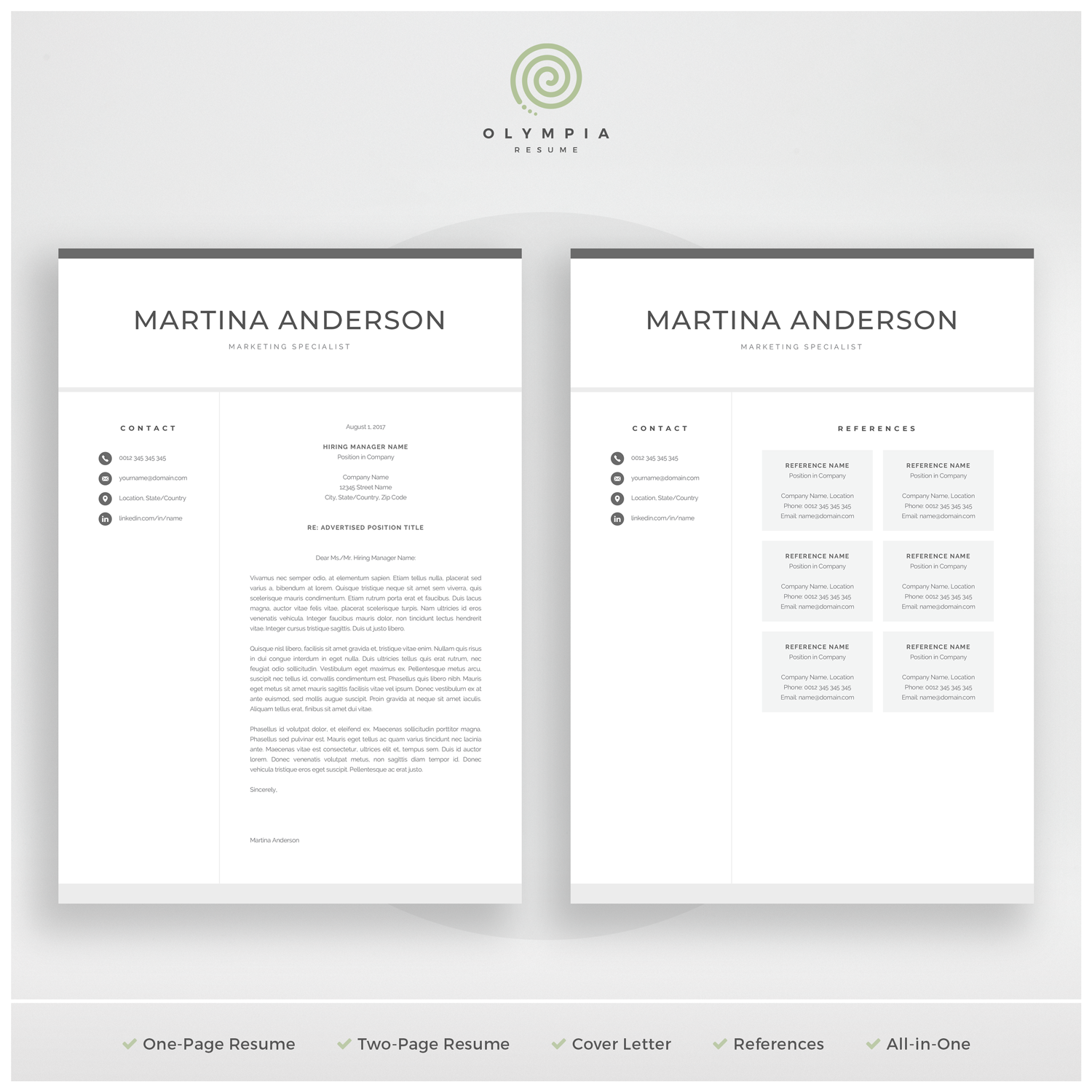 Modern Resume Template Professional CV Template for Word