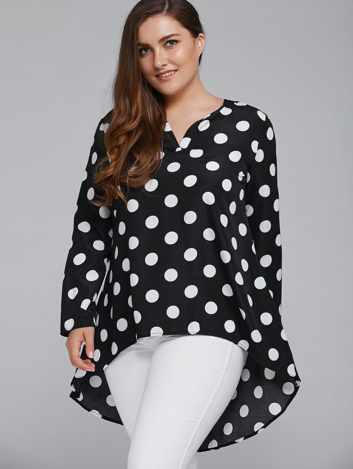 a2d3559634 Tops | White And Black 3xl Plus Size Polka Dot Loose Fitting Blouse -  Gamiss Plus