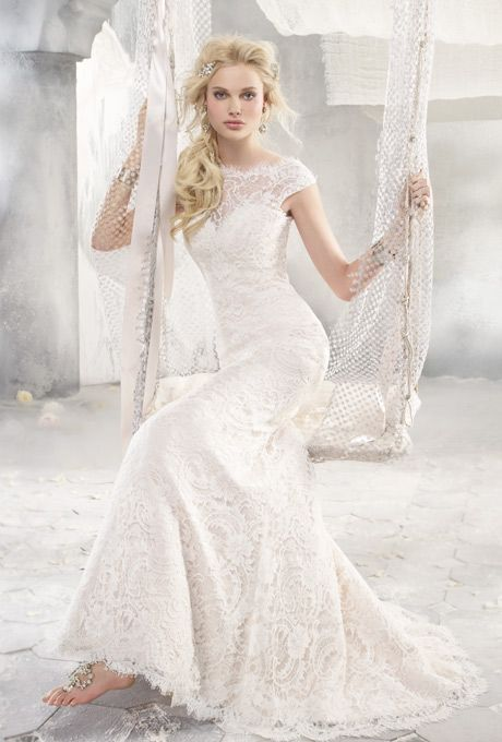 Awesome Brides Alvina Valenta Ivory french corded lace over rum pink silk faced duchess Wedding BellsDress