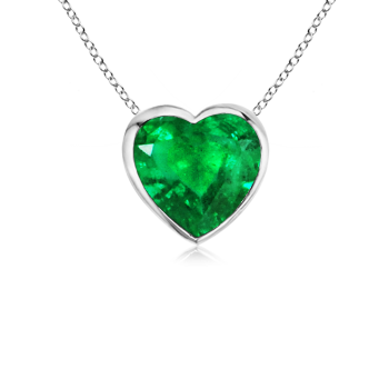 Angara Bezel-Set Emerald Necklace Pendant in 14k White Gold X7HdwPD