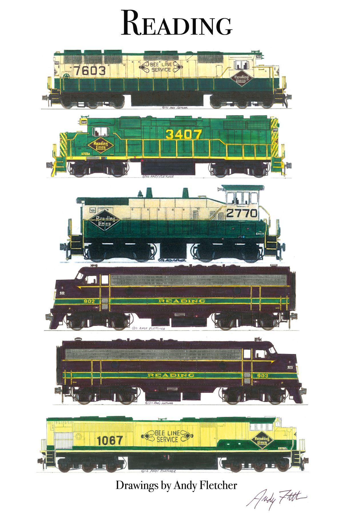 transpress nz: Pennsylvania Railroad art, 1940s | Railroad ... |Reading Railroad Train Art Prints