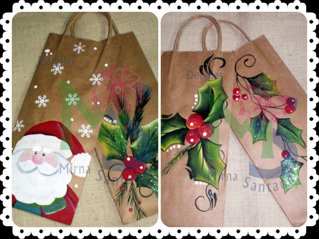 Bolsos papel pintados a mano navidad bolsa de regalo - Papel pintado a mano ...