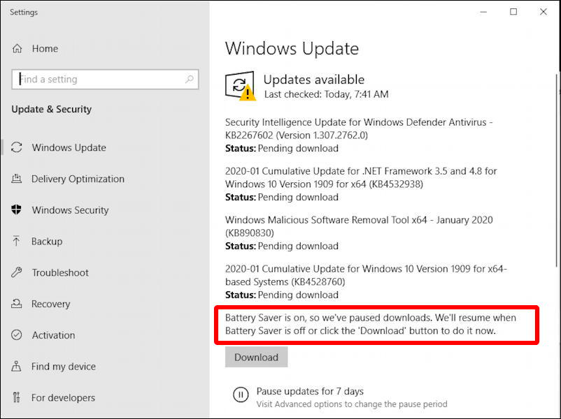 Updates Available For Your Windows 10 Computer But The Process Is Paused Due To Your Battery Saver Settings That S A Good In 2020 Windows 10 Savers Windows Defender