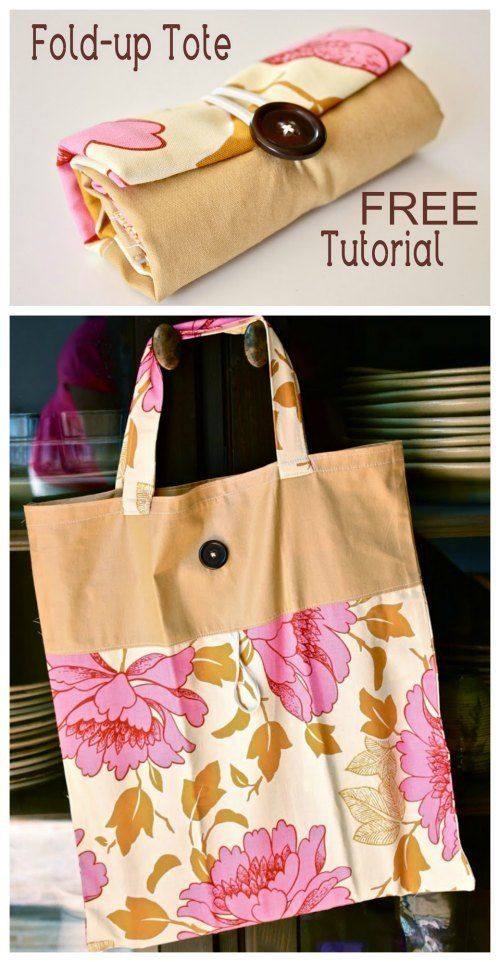 Fold-Up Tote Bag - FREE Sewing Tutorial #bagsewingpatterns