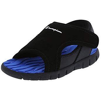 bf126253a8de Champion Boys Black Blue Boys  Infant Splash Sandal 3 Wide ...