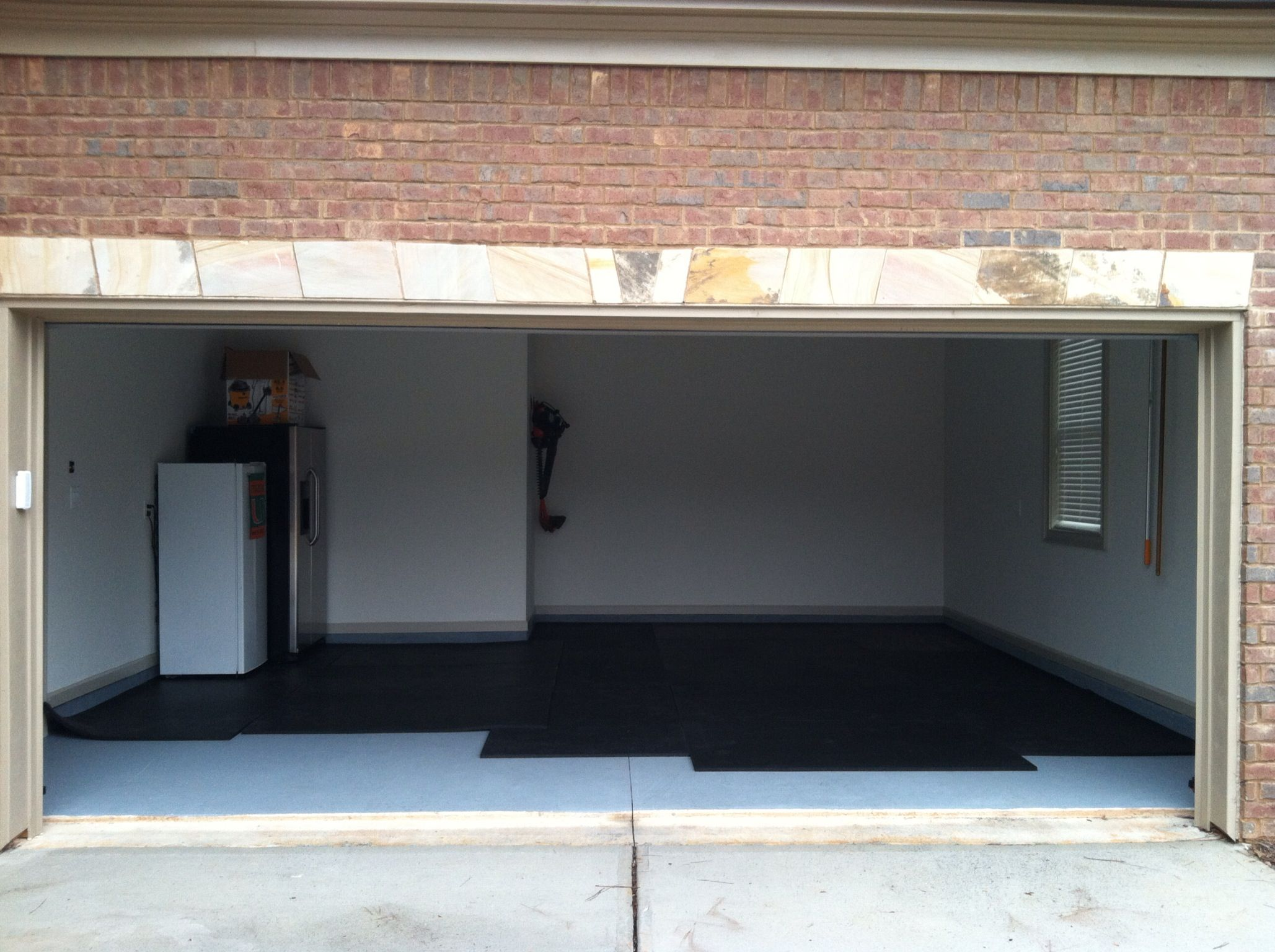 Step 1 1 Inch Rubber Mats To Floor 400 Square Foot 2 Car Garage W 11 Foot Ceilings And Ceiling Flush Garage Door We Ne Garage Doors Rubber Mat Crossfit Box