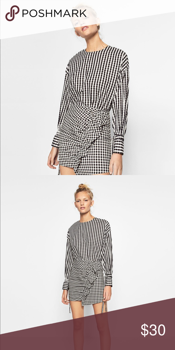 f3177ddde314 Zara Trafaluc gingham Top Excellent condition. Trafaluc by zara. Size  large. Has button down back. Detail tie around wrists. No flaws.