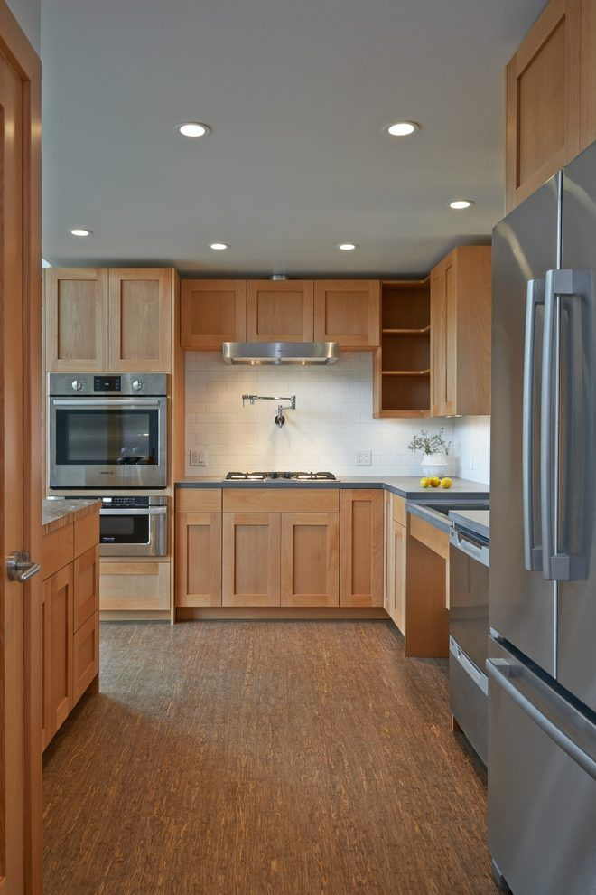 Beech Wood Cabinets Kitchen Transitional With Medium Wood Floor Stainless Steel Appliances