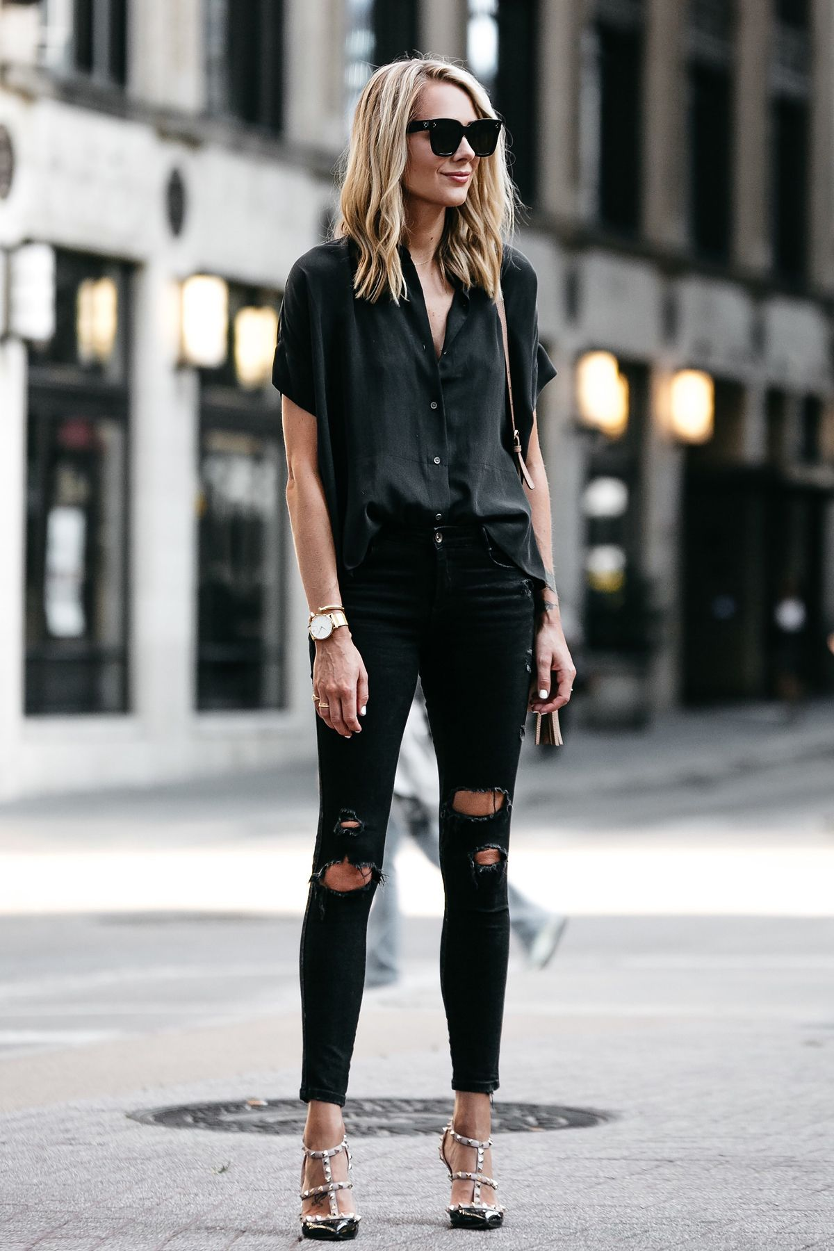 7883d79f013 Blonde Woman Wearing Everlane Black Short Sleeve Button Up Shirt Zara Black  Ripped Skinny Jeans Outfit Valentino Rockstud Pumps Fashion Jackson Dallas  ...