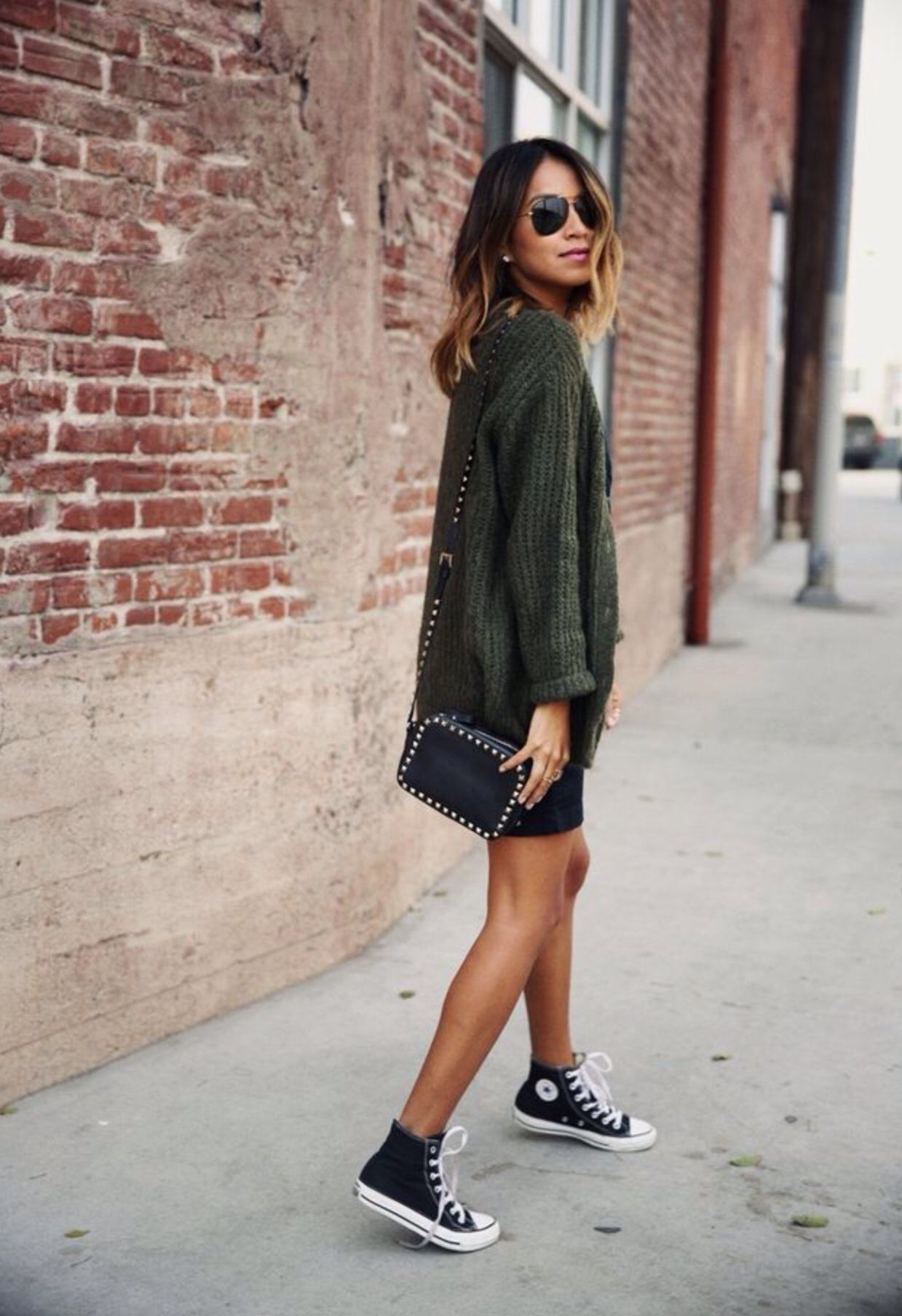 Fashion style All high black top converse outfit for lady