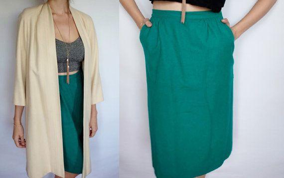 PENDLETON Skirt Green HIGH WAISTED Midi length Medium Wool