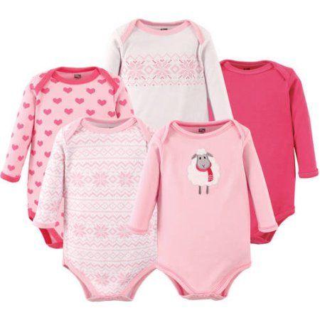 9d36a971a Hudson Baby Newborn Baby Girls Long Sleeve Bodysuit 5 Pack